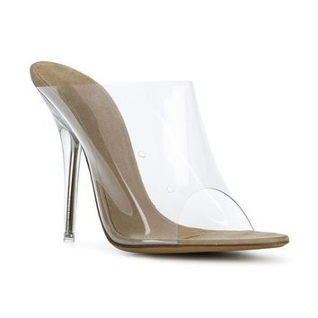 Barely there Suede PVC Mule
