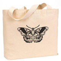 "Butterfly Tattoo Cotton Canvas Jumbo Tote Bag 18""w x 11""h"