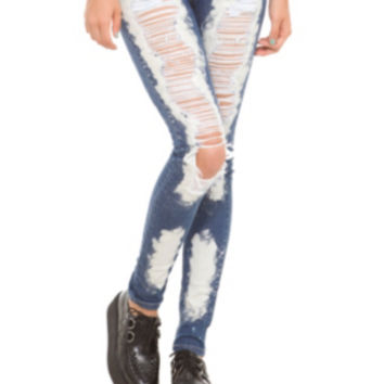 ChiQle Bleach Ultimate Distressed Skinny Jeans
