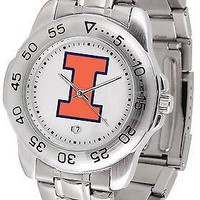 Illinois Fighting Illini Sport Watch Steel Band White Dial Ladies or Mens