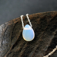 Tiny White Opal Choker - Sterling Silver Opal Necklace  - October Birthstone  - Teardrop Opal Pendant