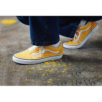 Vans Classic Unisex Canvas Old Skool Flats Sneakers Sport Shoes Yellow I