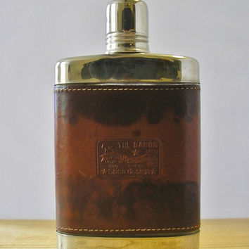 Vintage 7oz hip flask The Baron original model Spea design made in Italy leather and chrome