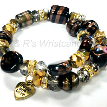 Black and Gold Bracelet Alex and Ani Inspired Custom Handmade Jewelry Lampwork Glass Beads Beads