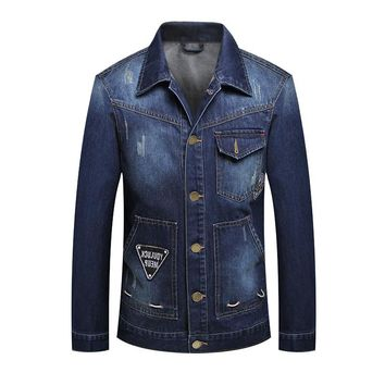 Autumn Casual Turn Down Collar Hombre Slim Male Denim Jacket