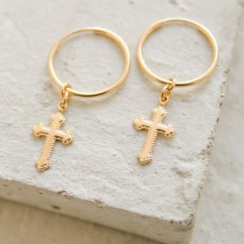 Charm Hoops - Cross