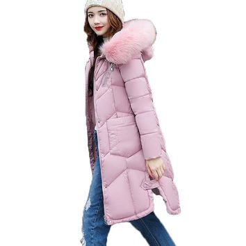 Winter Jacket Women 2017 New Hooded Faux Big Fur Collar Padded Coat Casual Long Sleeved Thick Medium Long Parka Casaco Inverno