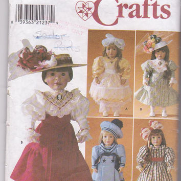 "American Girl/18"" doll clothes pattern designed by Shirley Botsford for 5 complete Victorian era costumes Simplicity 7998 CUT and COMPLETE"