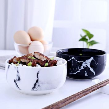 Marble grain rice bowls kitchen dinnerware home decoration creative design ceramic bowl noodle soup bowl ceramic tools