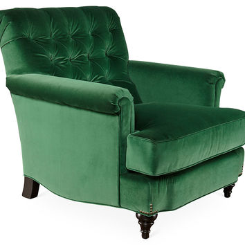 Acton Tufted Chair, Emerald Green Velvet, Accent U0026 Occasional Chairs