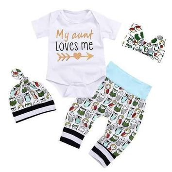 4PCS Baby Boys Girls Outfit Set