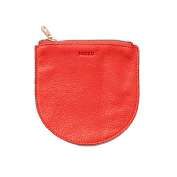 BAGGU Leather Small Zip Pouch Poppy - Default