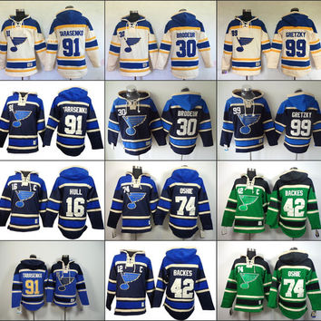 Men's Old Time Hockey St. Louis Blues 16 Brett Hull 42 David Backes 74 Tj Oshie 91 Vladimir Tarasenko 99 Wayne Gretzky Sawyer hoodie