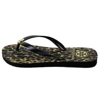 Tory Burch Leopard Animal Print Flip Flops Sandals Wildlife Black Size 8