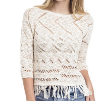 Fringe Trim Open Knit Pullover Sweater
