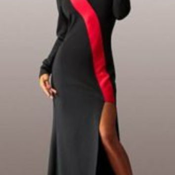 Sexy Color Block Jewel Neck Long Sleeve Hollow Out Slit Maxi Dress For Women