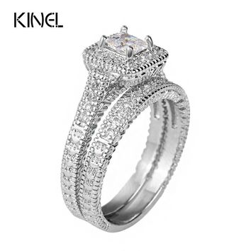 Kinel Blue Zircon 1.25ct Ring Sets Best Craft Princess Cut CZ With Micro Round CZ Paved Engagement Ring Sets For Bridal Jewelry