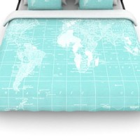 Kess InHouse Catherine Holcombe 'Welcome to My World' 88 by 104-Inch Duvet, King
