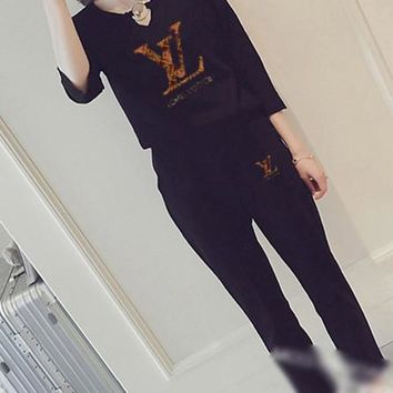 """""""LOUIS VUITTON """" Women's Leisure  Fashion Letter Printing Long Sleeve Cropped Trousers Couple Two-Piece Casual Wear"""