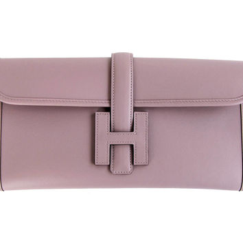 HERMES Glycine Lilac Jige Swift Elan Leather Clutch 29cm So Pretty!