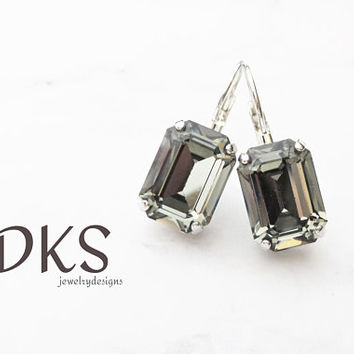 Black Diamond, Swarovski Princess Cut Octagon Drop Earrings, Bridal, Classy, Lever Back, DKSjewelrydesigns, FREE SHIPPING