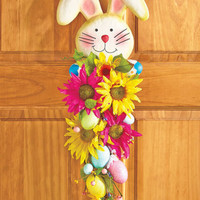 Easter Door Swag Wreath Rabbit Bunny Wall Art Floral Flowers Home Decor