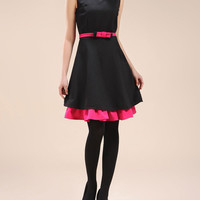 Sleeveless Pink Belted and Hem Accent Little Black Dress