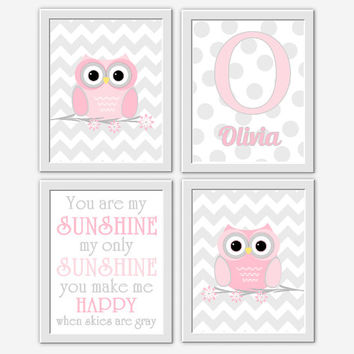 OWL Baby Girl Nursery Wall Art Pink Gray You are My Sunshine Baby Nursery Decor Monogram Girls Room Wall Art Baby Girl Nursery Decor