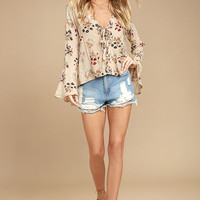 Sweet Alyssum Blush Floral Print Long Sleeve Lace-Up Top