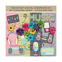Digital Scrapbooking Kit, Rockstar, Music Clipart, Musical Clip Art Glitter Graphics, Hot Pink Neon Green Blue Purple Yellow, Commercial Use