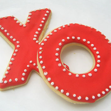 Hugs And Kisses Valentine Cookies Iced X & O Sugar Cookies Decorated Red