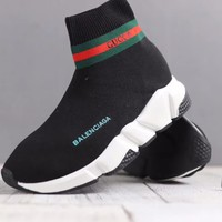 """Balenciaga"" Unisex Fashion Multicolor Stripe Knit Socks Hight Tube Sneakers Couple Casual Thick Bottom Shoes"