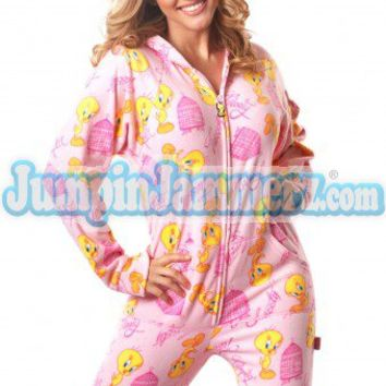 TWEETY BIRD 01 - Warner Bros. - Pajamas Footie PJs Onesuit One Piece Adult Pajamas - JumpinJammerz.com