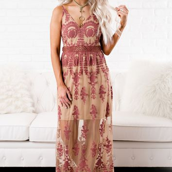 Red Rock Lace Maxi (Nude/Mauve)