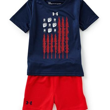 Under Armour Baby Boys 12-24 Months Short-Sleeve Americana Flag Tee & Shorts Set | Dillards