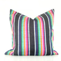 Mexican Striped Pillow, 14x14 Inch Bohemian Bedding Neon Pink and Black Decorative Pillows Tribal Pillows Boho Pillows