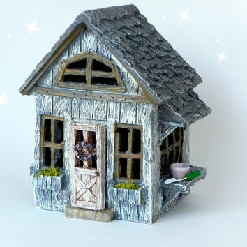 Fairy Cottage House - accessories - Miniature resin fairy garden supply - terrarium supplies - fairy house - willow ridge fairy house