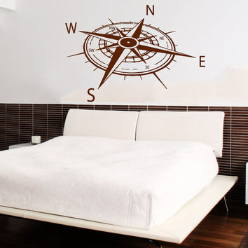 Rose Compass Wall Decal Navigate Ship Stickers Ocean Sea Vinyl Decals Art Mural Home Interior Design Bedroom Bohemian Nautical Decor KY96