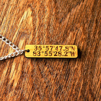 Latitude and Longitude BEECH WOOD Pendant with chain Custom Engraved GPS Coordinates Pendant Personalized One-of-a-kind Fathers Day Gift