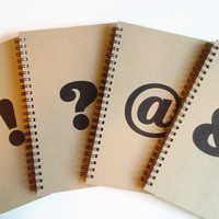 Set of 4 Writing journals - Ampersand, at symbol, exclamation mark, question mark