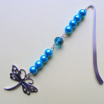 Dragonfly bookmark, dragonfly gift, silver bookmark, beaded bookmark, turquoise bookmark, unique bookmarks, bookmark gift, insect bookmark