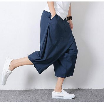 HOT 2016 casual fashion summer plus size men's clothing fluid all-match linen harem pants middlelowlevel downshift pants capris