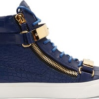 SSENSE EXCLUSIVE Blue Croc-Embossed London Ringo Sneakers