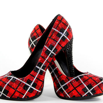 Red & Silver Plaid Swarovski Crystal Heels