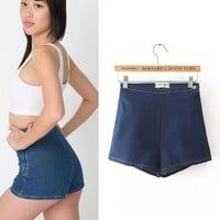 Summer High Rise Zippers Denim Hip Up Slim Shorts [6034322433]