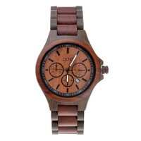 ZLYC Men Two Tone Japanese Quartz Movement Natural Sandalwood Wooden Watch with Calendar Function