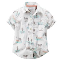 Carter's Tropical Button-Down Poplin Shirt - Baby Boy, Size: