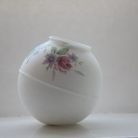 White sphere made from fine bone china with vintage flowers illustrations - geometric decor -illustrated ceramics