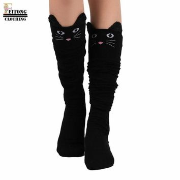 FEITONG 2017 Autumn Winter Cat Catoon Socks Long Socks Sexy Warm Thigh High Over The Knee Socks Long Cotton Knitted Stockings