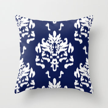 SOPHISTICATED- NAVY IKAT Throw Pillow by Rebecca Allen